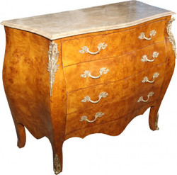 Casa Padrino Baroque Chest of drawers with 4 drawers, marble top in cream 110 cm - handmade of solid wood