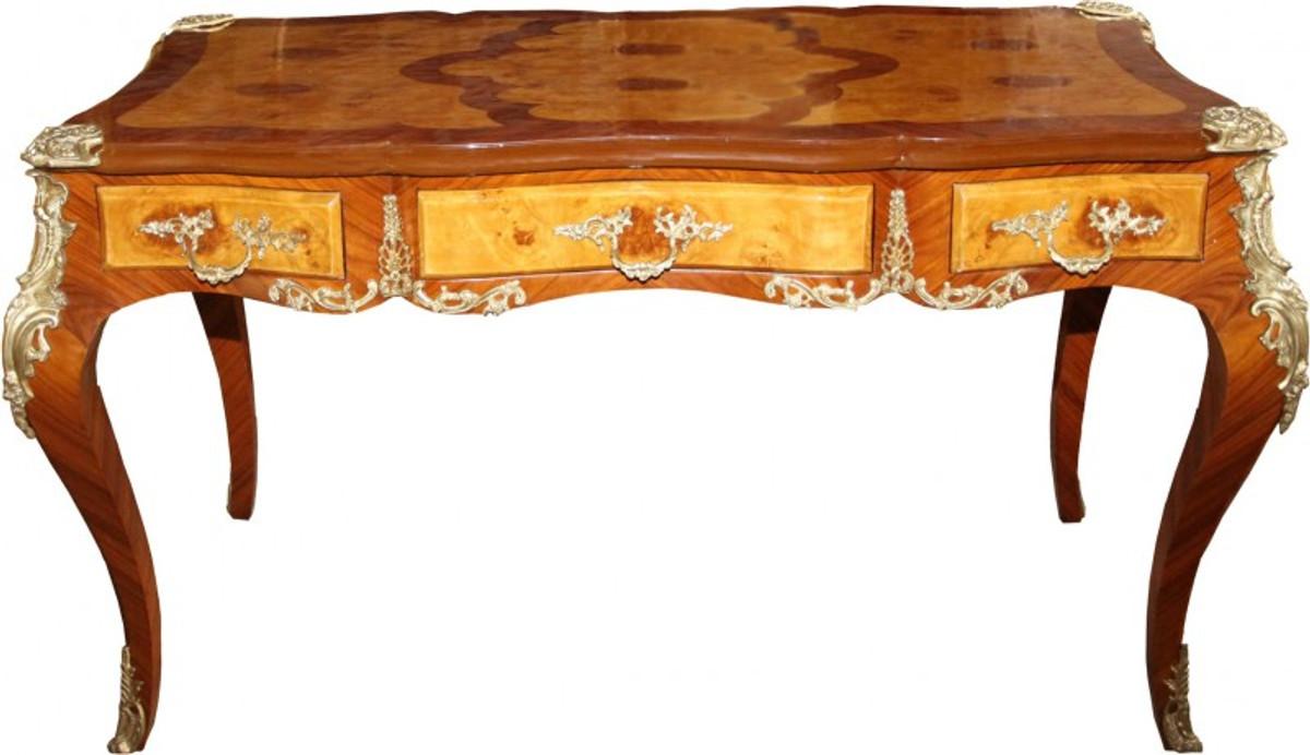 Casa Padrino Luxus Barock Schreibtisch Mit 3 Schubladen Braun / Gold B 141  Cm, T 71 Cm   Sekretär Luxus Möbel