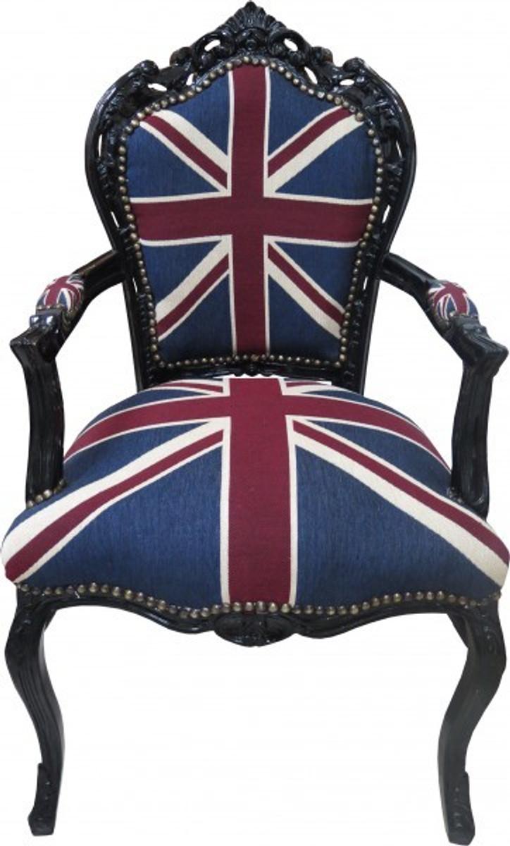 casa padrino barock esszimmer stuhl mit armlehnen union jack schwarz antik stil m bel st hle. Black Bedroom Furniture Sets. Home Design Ideas