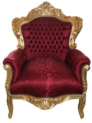 "Baroque Armchair ""King"" Bordeaux pattern fabric / gold - antique style furniture"