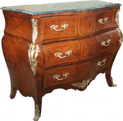 Casa Padrino baroque chest of drawers brown with marble top Mahogany inlaid with 4 drawers B 130 cm - baroque furniture chest of drawers