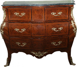 Casa Padrino baroque chest of drawers brown with marble top Mahogany inlaid with 4 drawers B 130 cm - baroque furniture chest of drawers 2