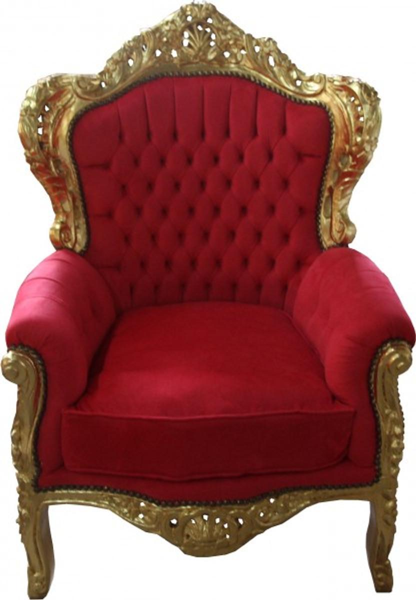Casa Padrino Barock Sessel King Rot Gold Mod2 Möbel
