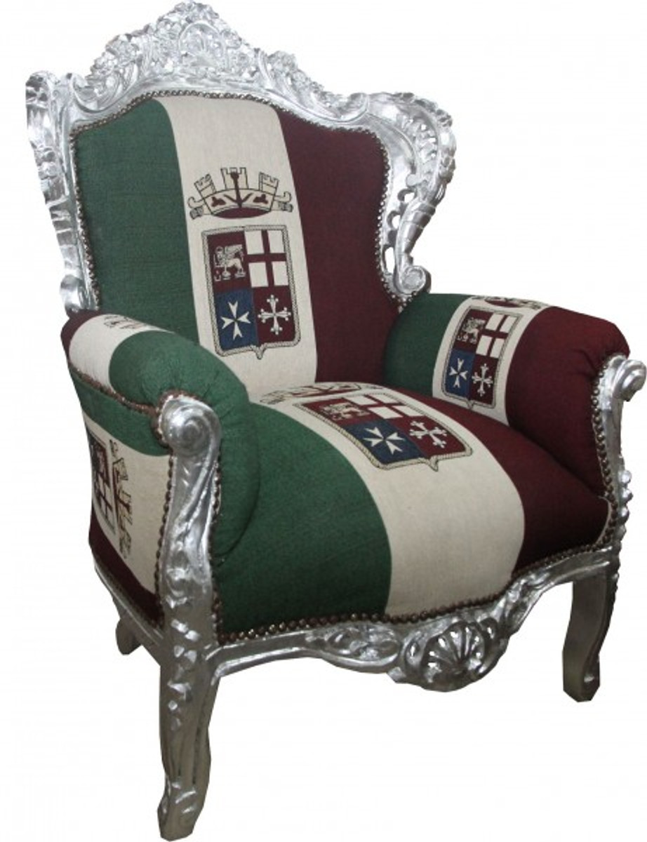 Casa padrino baroque armchair king union italy silber for Sessel union jack