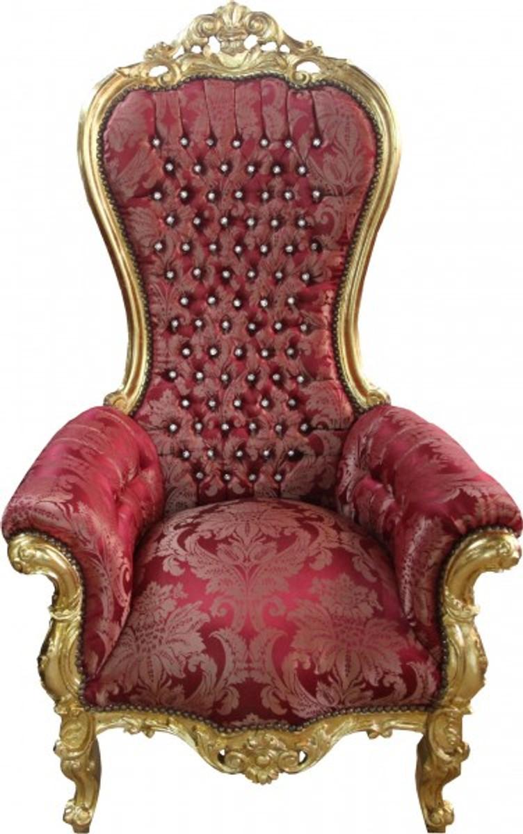 Casa Padrino Barock Thron Sessel Majestic Medium Bordeaux Muster / Gold mit Bling Bling Glitzersteinen - Riesensessel - Thron Stuhl Tron 1