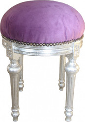 Casa Padrino Baroque Stool - Round Stool Purple / Silver - Baroque Stool Furniture
