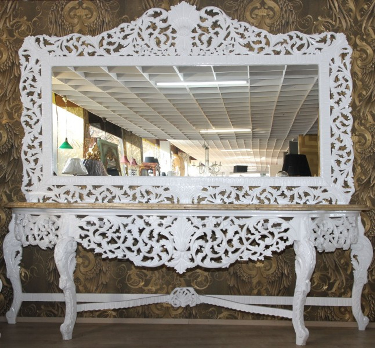 riesige casa padrino barock spiegelkonsole wei mit cremefarbener marmorplatte luxus. Black Bedroom Furniture Sets. Home Design Ideas