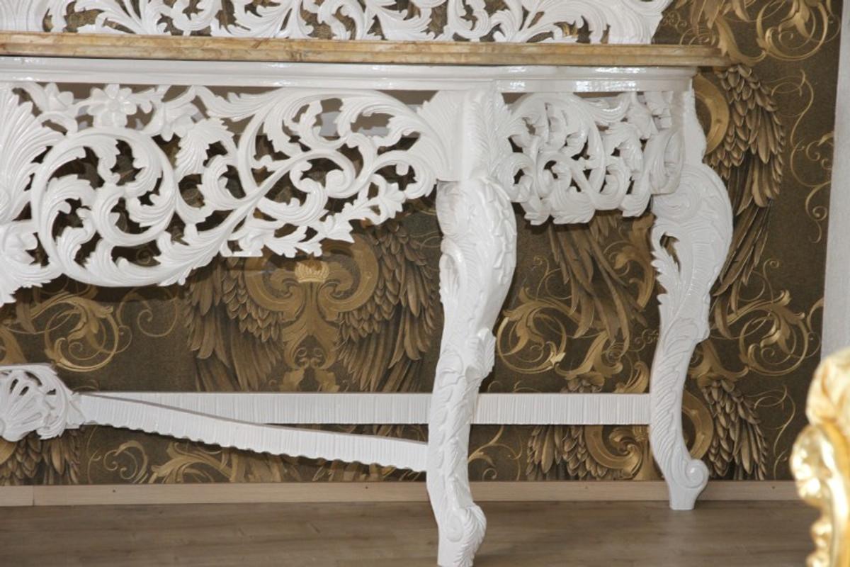 riesige casa padrino barock spiegelkonsole weiss mit cremefarbener marmorplatte luxus wohnzimmer mobel konsole mit spiegel