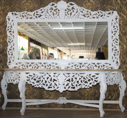 Giant Casa Padrino Baroque mirror console white with cream marble slab - luxury living room furniture console with mirror