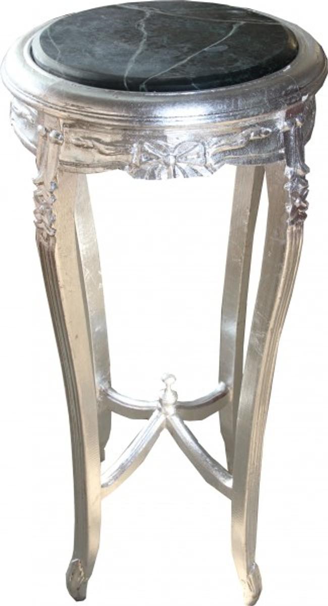 Casa Padrino Barock Beistelltisch mit Marmorplatte Rund Silber 91 x 46 cm Antik Stil - Telefon Blumen Tisch 1