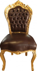 Casa Padrino Baroque Dining Chair Brown Smooth Leather / Gold Furniture