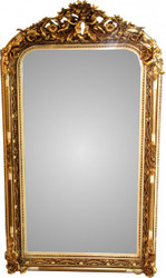 Casa Padrino Baroque Wall Mirror Old White / Gold Antique Look H 159 cm x W 89 cm - Noble & Magnificent Mirror