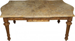 Casa Padrino Baroque Couch Table Gold with Cream Marble Panel 109 x 60 cm - Limited Edition