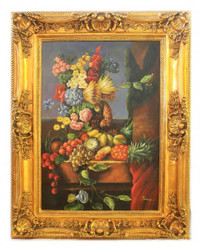Handpainted Oil Painting Fruits 3 Baroque Gold Prunkrahmen 130 x 100 x 10 cm - Solid Material