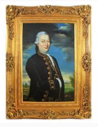 Handgemaltes Barock Öl Gemälde Herr 2 Gold Prunk Rahmen 130 x 100 x 10 cm - Massives Material