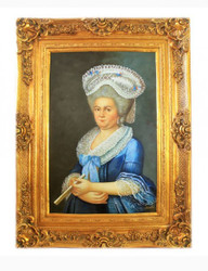Handpainted Oil Painting Lady 4 Baroque Gold Prunkrahmen 130 x 100 x 10 cm - Solid Material