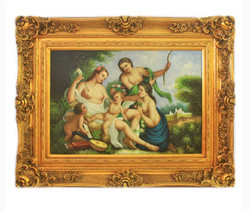 Handpainted Oil Painting angels picture 5 Baroque Gold Prunkrahmen 130 x 100 x 10 cm - Solid Material