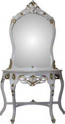 Casa Padrino Baroque Mirror Console White / Gold with Marble Panel - Console - Makeup - Limited Edition