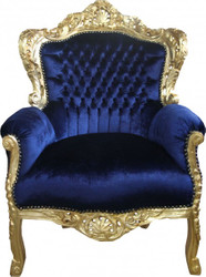 "Casa Padrino Barock Sessel ""King"" Royalblau/Gold"