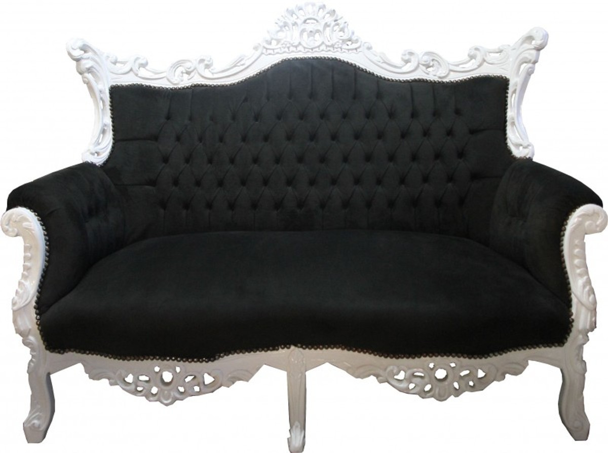 casa padrino baroque 2 seater sofa master black white. Black Bedroom Furniture Sets. Home Design Ideas