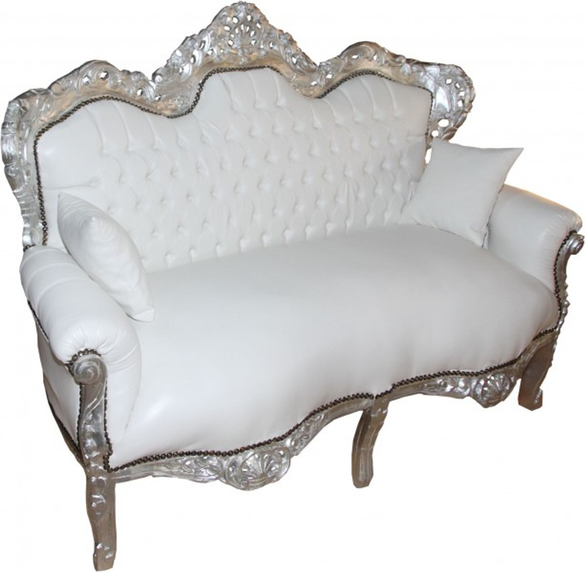 casa padrino barock 2 er sofa king wei lederoptik silber wohnzimmer couch m bel lounge. Black Bedroom Furniture Sets. Home Design Ideas