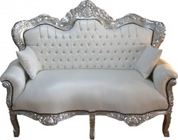 Casa Padrino Baroque King 2-seater white leather look / Silver - living room couch furniture Lounge