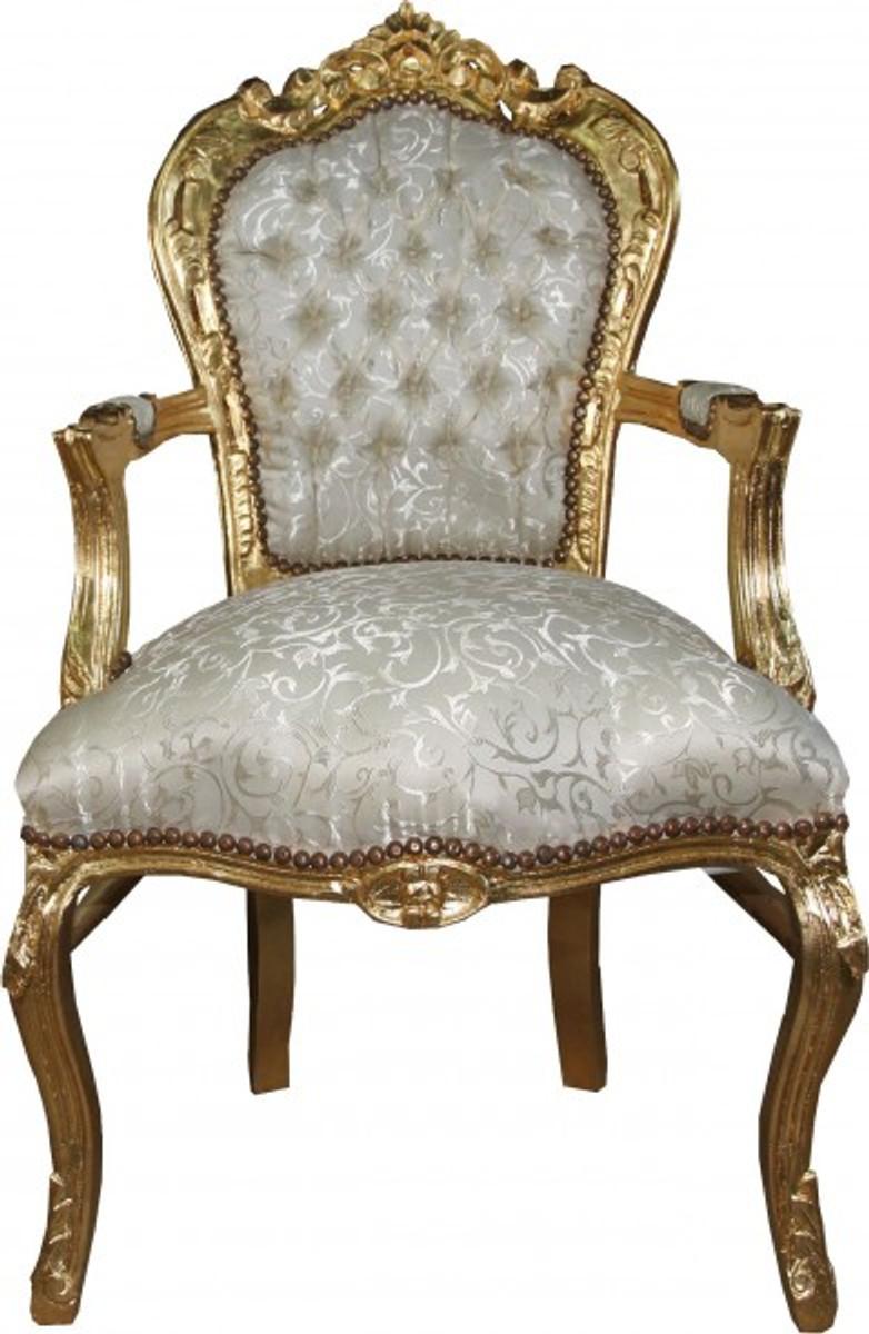 Casa Padrino Barock Esszimmer Stuhl mit Armlehnen in Creme-Weiss Muster / Gold - Antik Möbel - Limited Edition 1