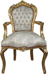 Casa Padrino Barock Esszimmer Stuhl mit Armlehnen in Creme-Weiss Muster / Gold - Antik Möbel - Limited Edition