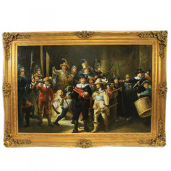 Huge Handpainted Baroque Oil Painting Rembrandt Nachtwache Gold Huge Frame 220 x 160 x 10 cm - Solid material