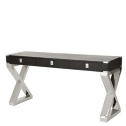 Casa Padrino luxury desk black / stainless steel polished - luxury hotel furniture