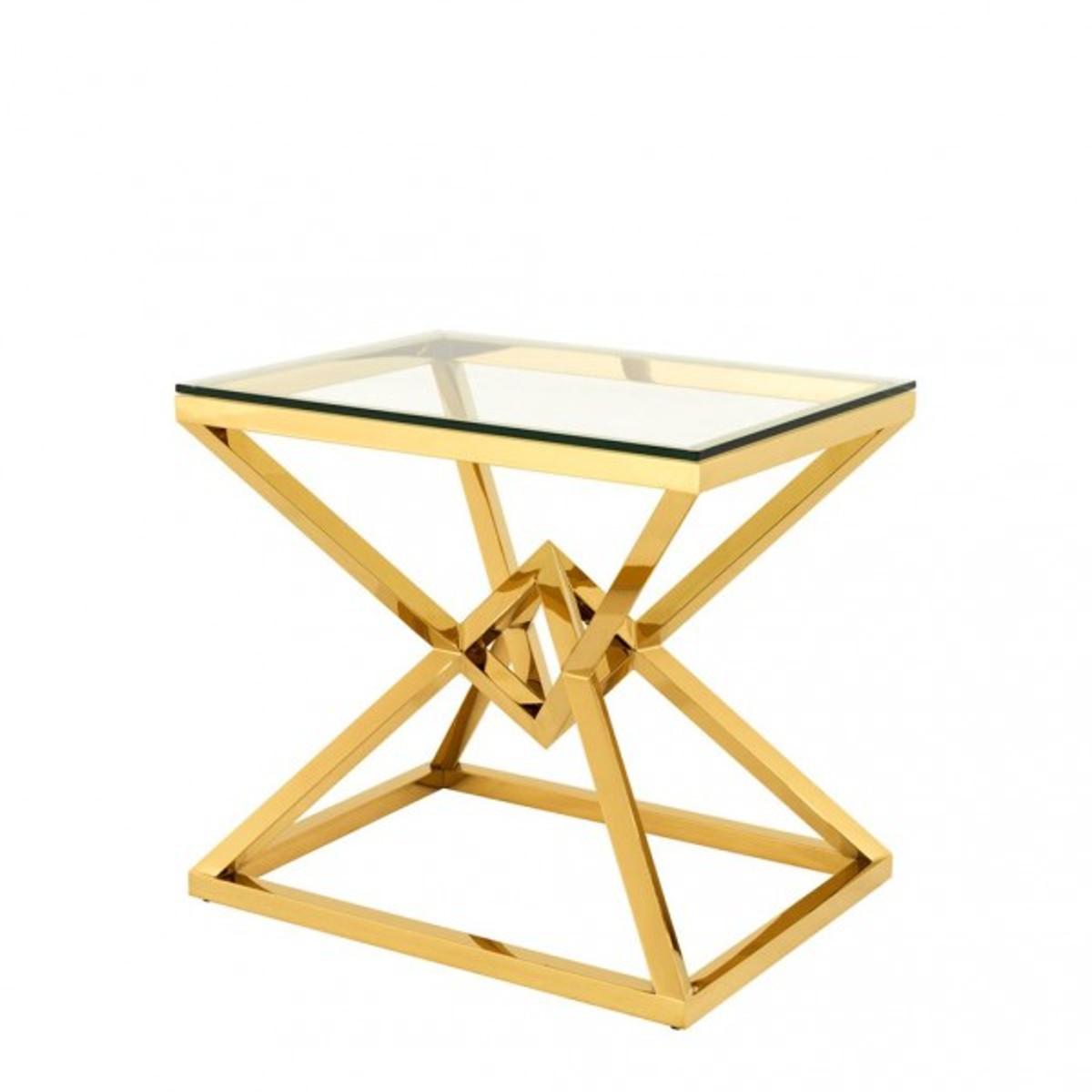 Casa Padrino Luxus Beistelltisch Edelstahl Gold Finish 65 X 50 X H