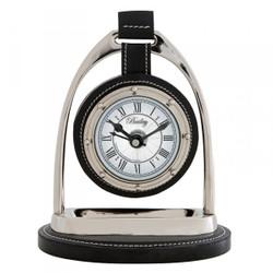 Casa Padrino Designer Luxus Vintage Tischuhr Horsebit Nickel / Leder Schwarz 17 x 12,5 x H. 21 cm - Edel & Prunkvoll