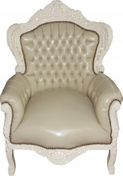 "Casa Padrino Baroque chair ""King"" cream / cream leather optic"