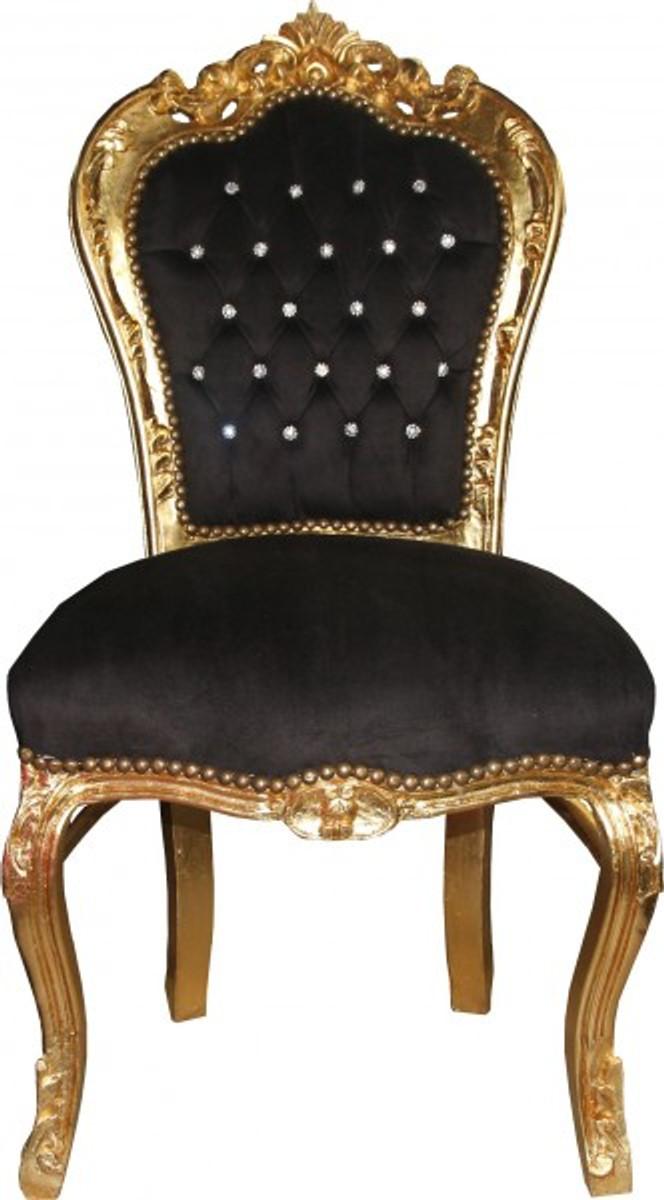 casa padrino barock esszimmer stuhl schwarz gold mit bling bling glitzersteinen m bel antik. Black Bedroom Furniture Sets. Home Design Ideas