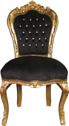 Casa Padrino Baroque Dining Chair Black / Gold with Bling Bling Glittering - Furniture Antique Style - Limited Edition
