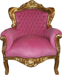 "Casa Padrino Baroque Armchair ""King"" Pink / Gold"