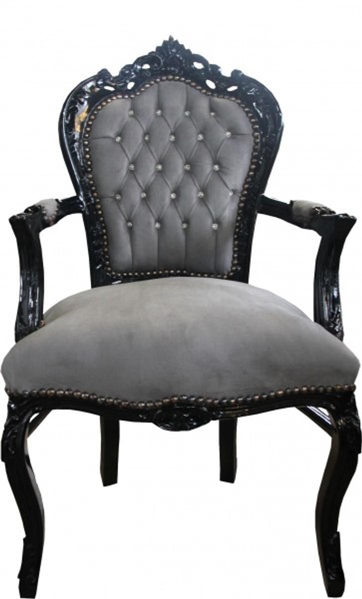 casa padrino barock esszimmer stuhl grau schwarz mit armlehnen und bling bling glitzersteinen. Black Bedroom Furniture Sets. Home Design Ideas