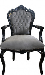 Casa Padrino Baroque Dining Chair Gray / Black with Armrests and Bling Bling Glittering - Limited Edition