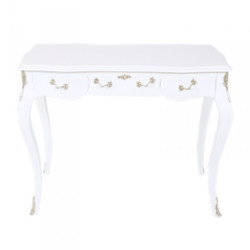 Casa Padrino Luxury baroque desk / console white/silver ink. Glass panel 97 x 78 x 48 cm - secretary luxury furniture