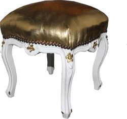 Casa Padrino Baroque ottoman gold leather look / White - Antique furniture - Stool