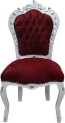 Casa Padrino Baroque dining chair Bordeaux / White / Gold without armrests - Antique furniture - Limited Edition