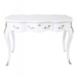 Casa Padrino Baroque Desk Secretary / Console White / Silver 120 x 60 x H80 cm - luxury furniture