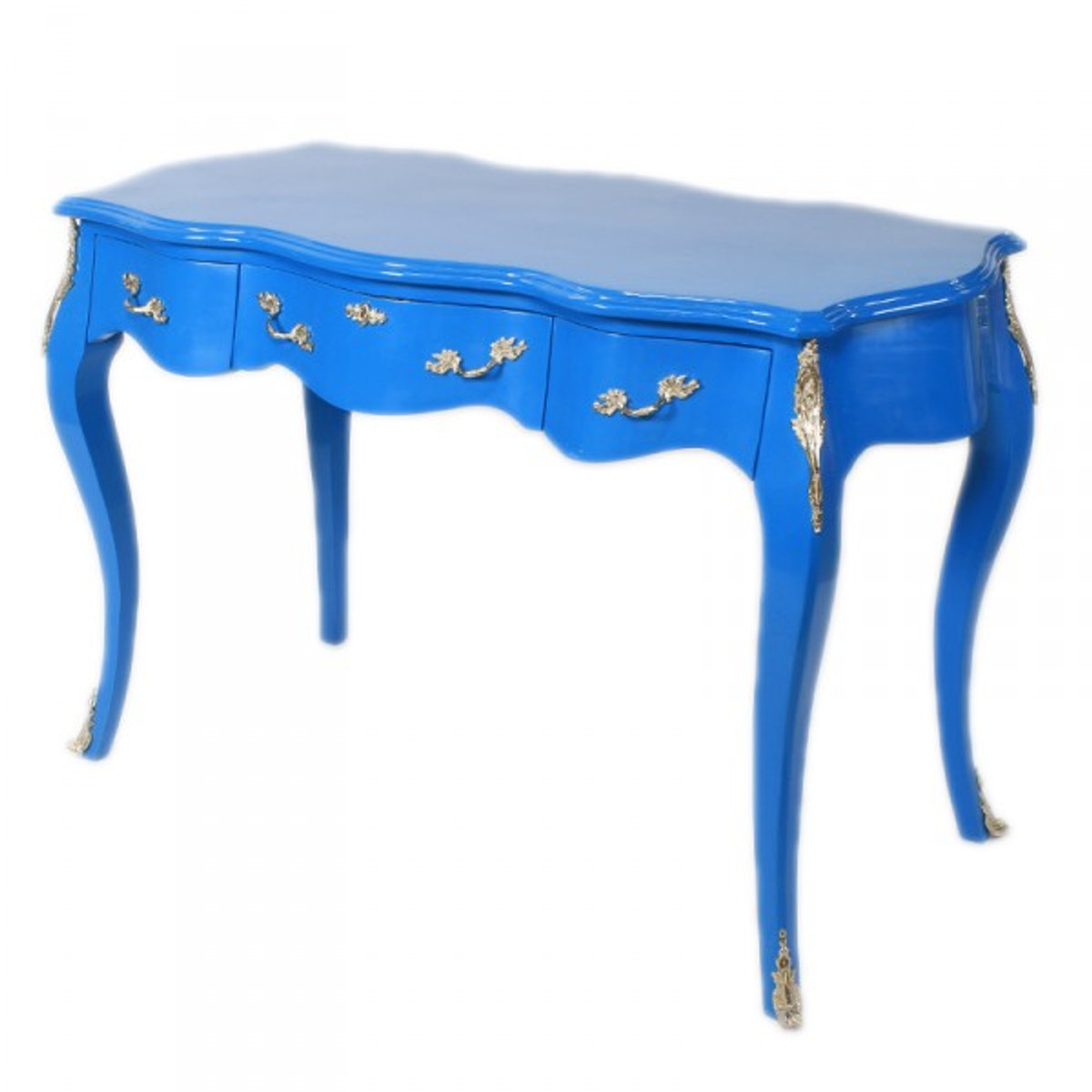 Casa padrino barock schreibtisch sekret r konsole blau for Schreibtisch 120 x 60