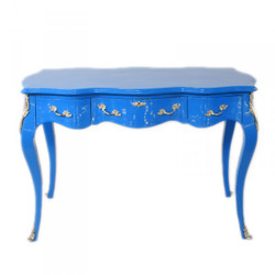 Casa Padrino Baroque Desk Secretary / Console Blue 120 x 60 x H80 cm - luxury furniture