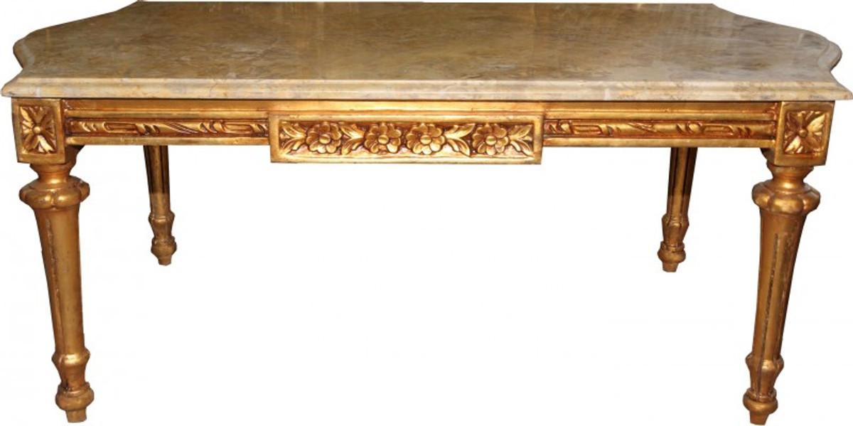 Casa Padrino Barock Couchtisch Gold Mit Cremefarbener Marmorplatte