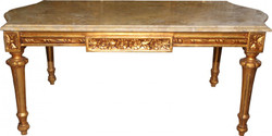 Casa Padrino Baroque Couch Table Gold with Cream Marble Panel 108 x 55 cm - Limited Edition