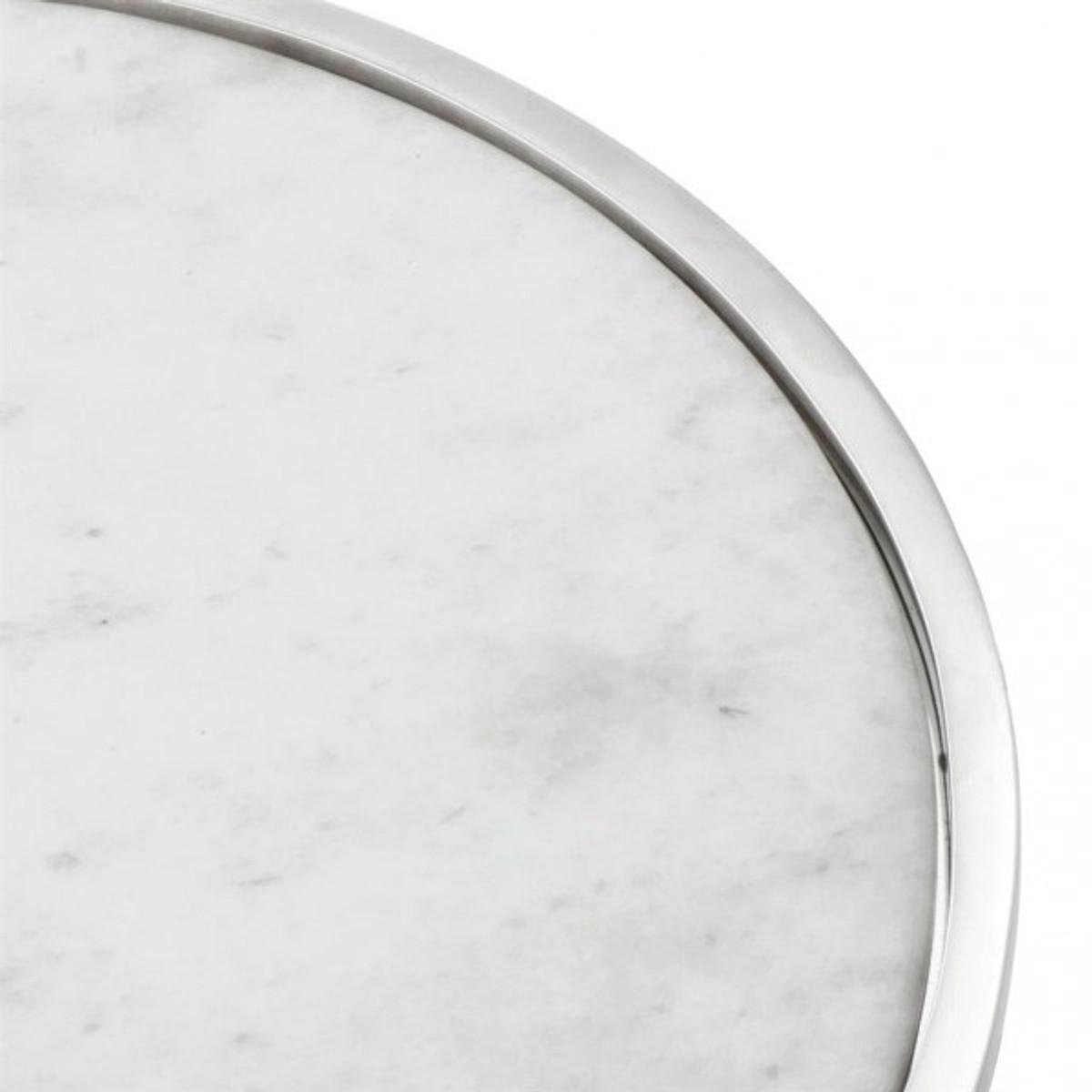 Casa Padrino Luxus Art Deco Kuchenglocke Edelstahl Vernickelt Mit Weißem  Marmor Und Glasdeckel   Kuchen Ständer