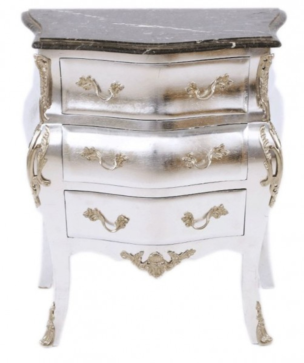 Casa padrino baroque chest of drawers silver with marble for Kommode silber