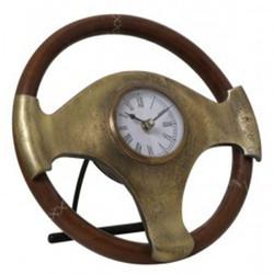 Casa Padrino Designer Tischuhr Lenkrad in Antik Bronze/Braun Ø25x6,5 cm - Designer Uhr