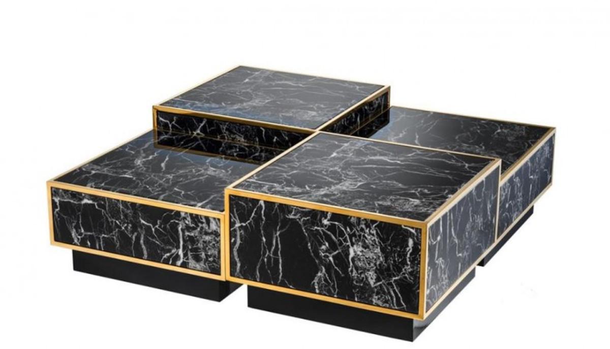 - Casa Padrino Art Deco Luxury Coffee Table Faux Marble Gold Finish